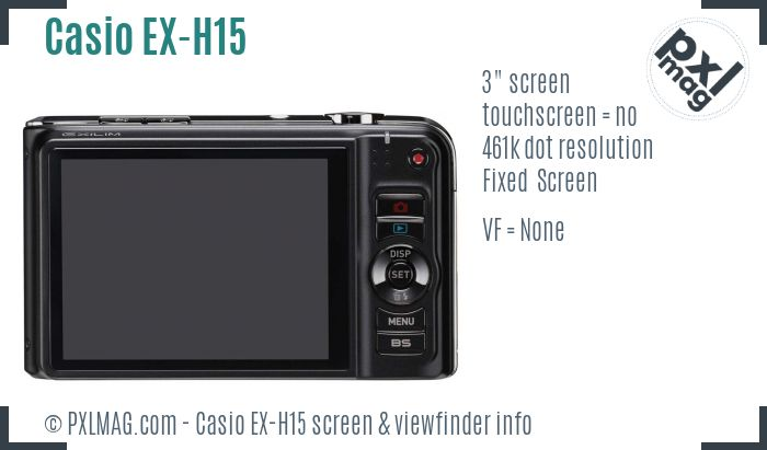 Casio Exilim EX-H15 screen and viewfinder