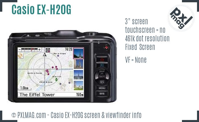 Casio Exilim EX-H20G screen and viewfinder