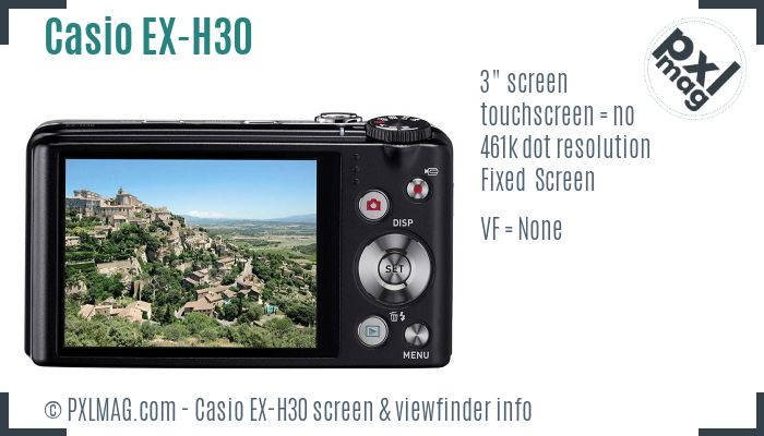 Casio Exilim EX-H30 screen and viewfinder