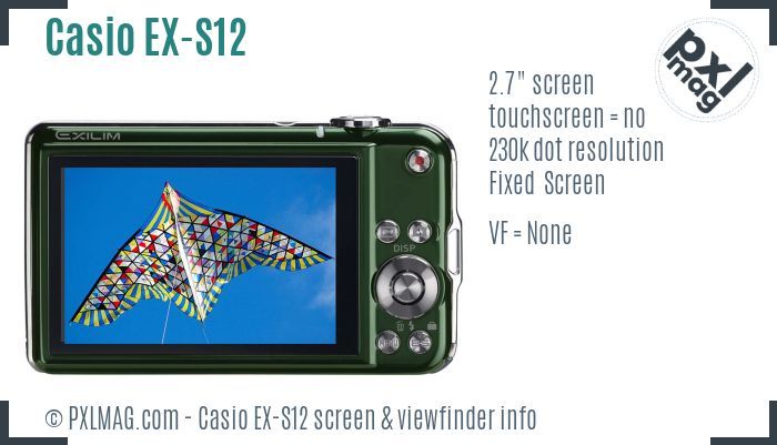 Casio Exilim EX-S12 screen and viewfinder