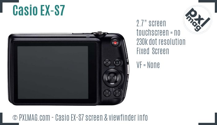 Casio Exilim EX-S7 screen and viewfinder