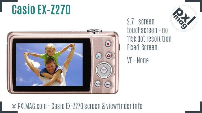 Casio Exilim EX-Z270 screen and viewfinder