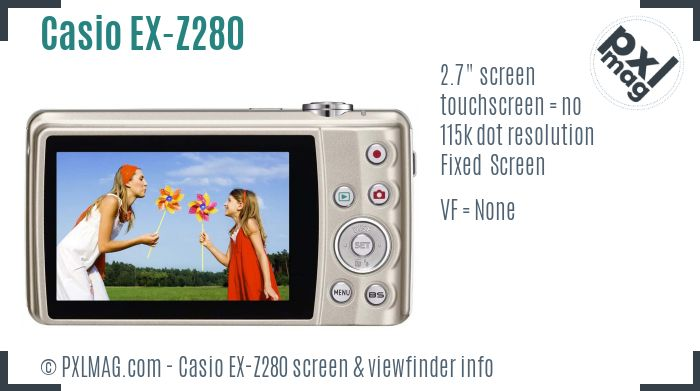 Casio Exilim EX-Z280 screen and viewfinder