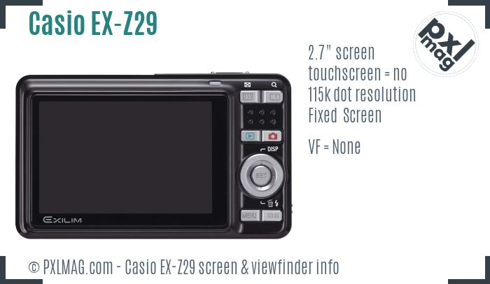 Casio Exilim EX-Z29 screen and viewfinder