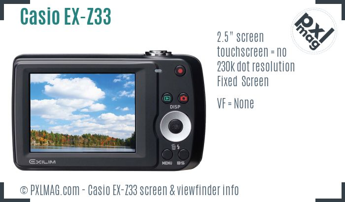 Casio Exilim EX-Z33 screen and viewfinder