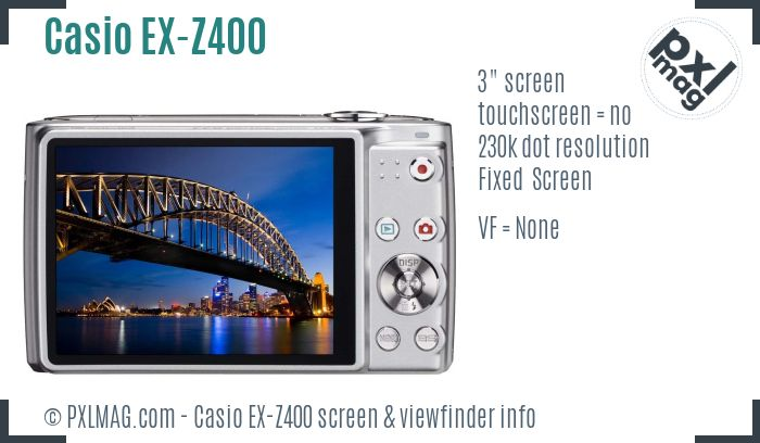 Casio Exilim EX-Z400 screen and viewfinder