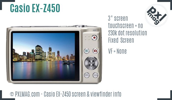 Casio Exilim EX-Z450 screen and viewfinder