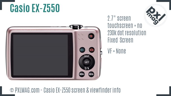 Casio Exilim EX-Z550 screen and viewfinder