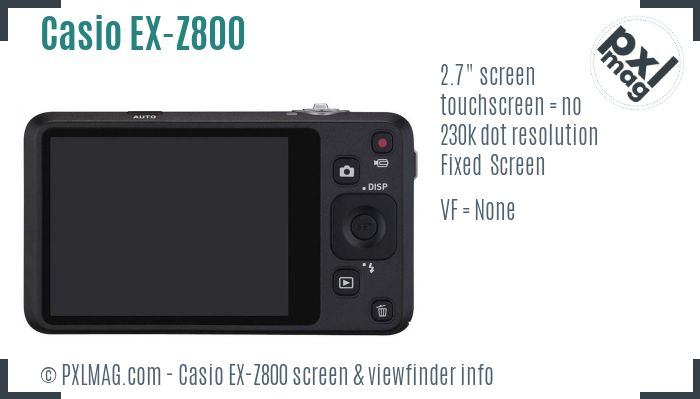 Casio Exilim EX-Z800 screen and viewfinder