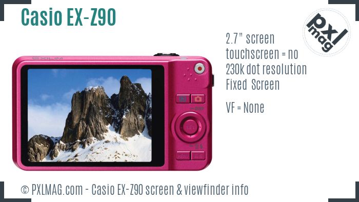 Casio Exilim EX-Z90 screen and viewfinder