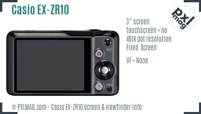 Casio Exilim EX-ZR10 screen and viewfinder