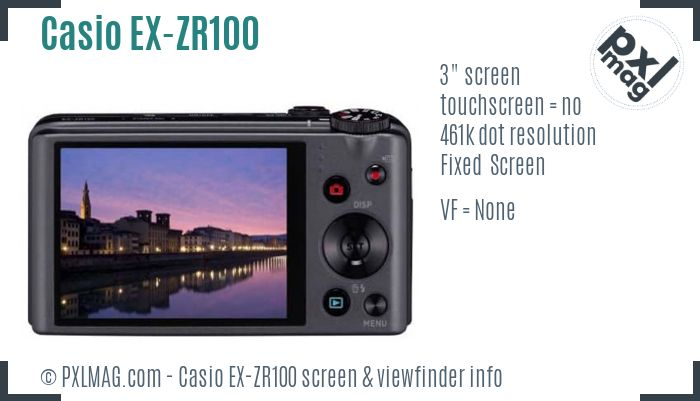 Casio Exilim EX-ZR100 screen and viewfinder