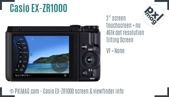Casio Exilim EX-ZR1000 screen and viewfinder