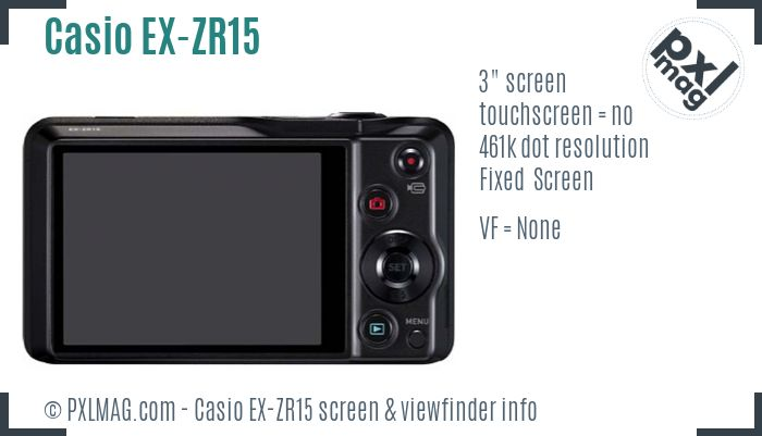 Casio Exilim EX-ZR15 screen and viewfinder