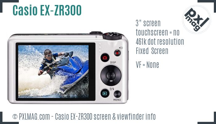 Casio Exilim EX-ZR300 screen and viewfinder