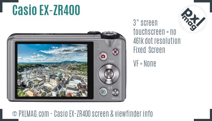 Casio Exilim EX-ZR400 screen and viewfinder