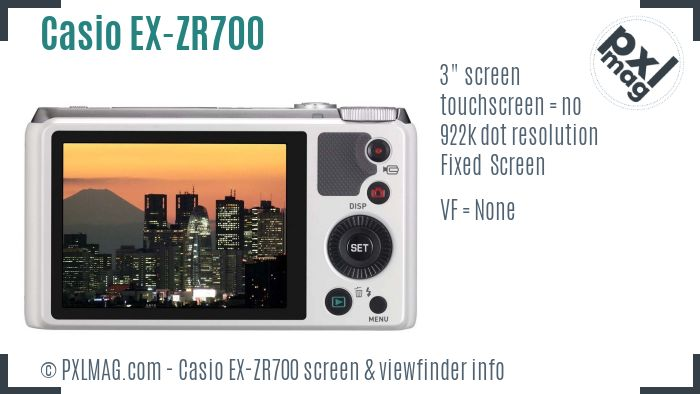 Casio Exilim EX-ZR700 screen and viewfinder