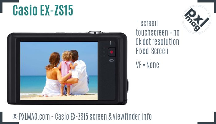 Casio Exilim EX-ZS15 screen and viewfinder
