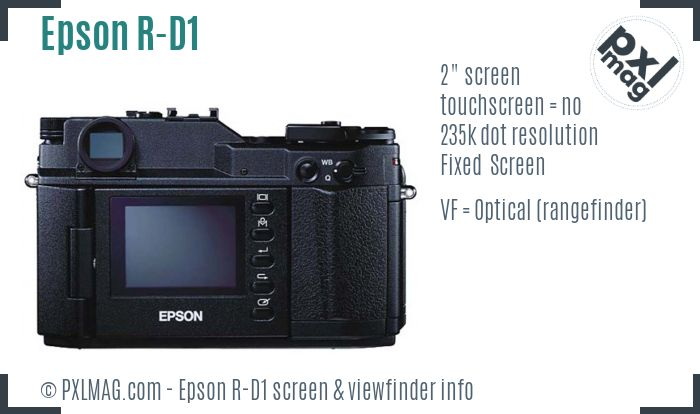 Epson R-D1 screen and viewfinder