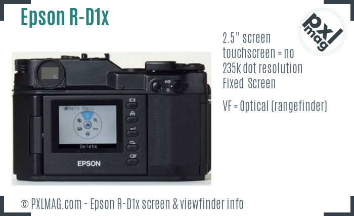 Epson R-D1x screen and viewfinder