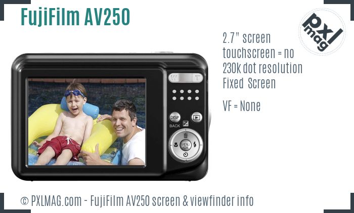 FujiFilm FinePix AV250 screen and viewfinder