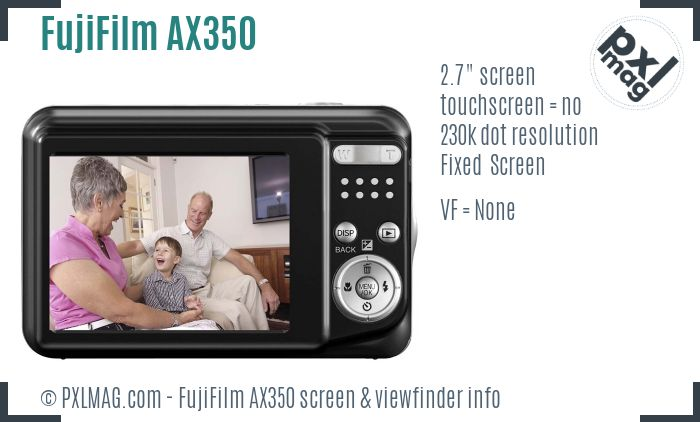 FujiFilm FinePix AX350 screen and viewfinder