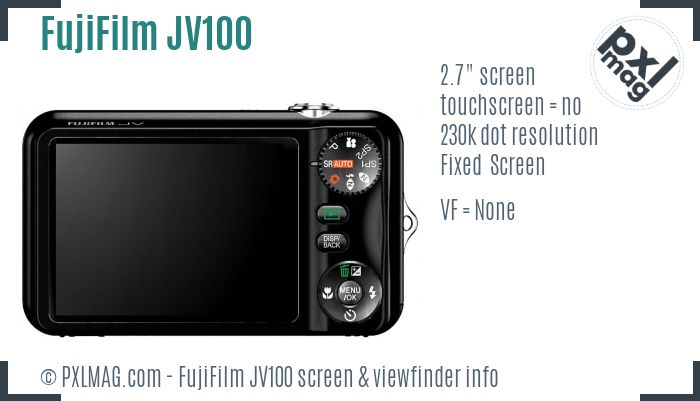FujiFilm FinePix JV100 screen and viewfinder