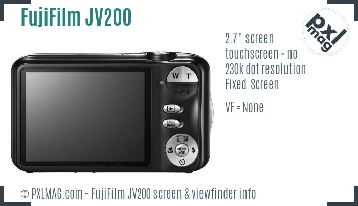 FujiFilm FinePix JV200 screen and viewfinder