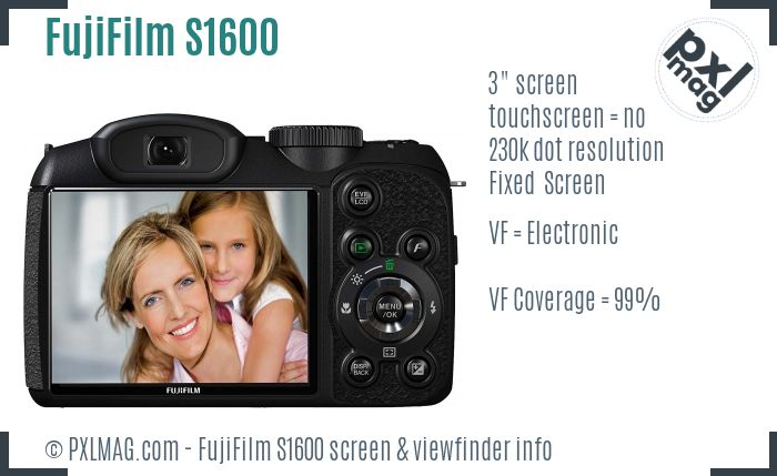 FujiFilm FinePix S1600 screen and viewfinder