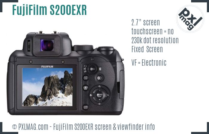 FujiFilm FinePix S200EXR screen and viewfinder