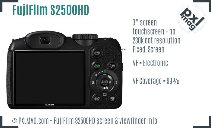 FujiFilm FinePix S2500HD screen and viewfinder