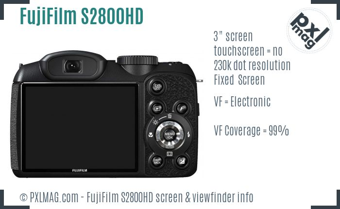 FujiFilm FinePix S2800HD screen and viewfinder