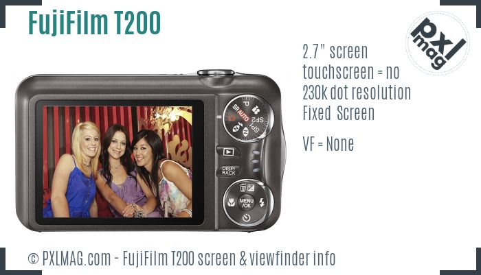 FujiFilm FinePix T200 screen and viewfinder