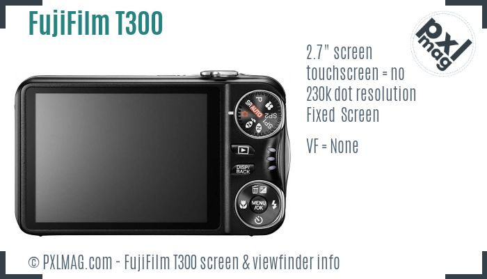 FujiFilm FinePix T300 screen and viewfinder