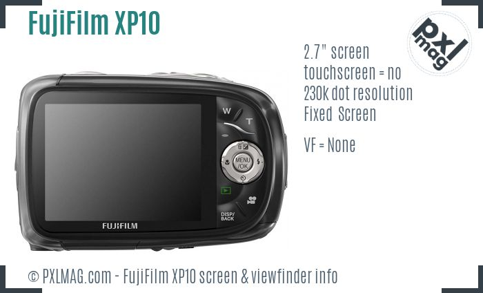 FujiFilm FinePix XP10 screen and viewfinder
