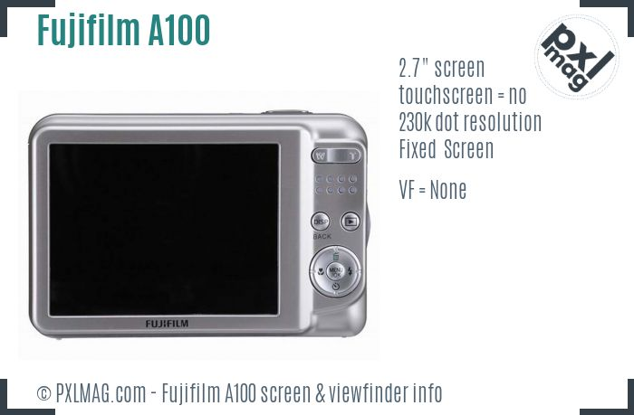 Fujifilm FinePix A100 screen and viewfinder