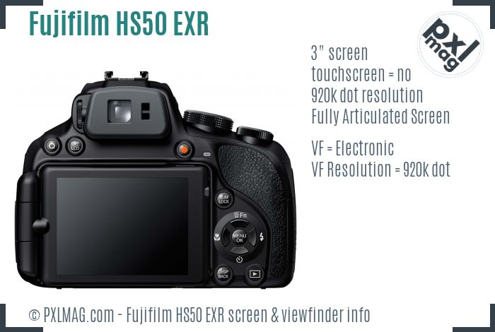 Fujifilm FinePix HS50 EXR screen and viewfinder