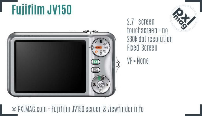 Fujifilm FinePix JV150 screen and viewfinder