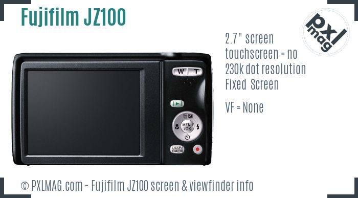 Fujifilm FinePix JZ100 screen and viewfinder