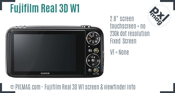 Fujifilm FinePix Real 3D W1 screen and viewfinder