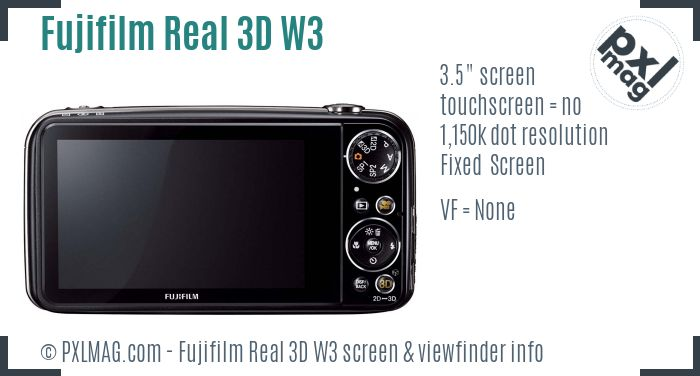 Fujifilm FinePix Real 3D W3 screen and viewfinder