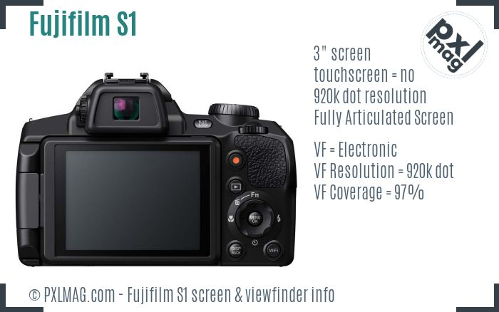 Fujifilm FinePix S1 screen and viewfinder