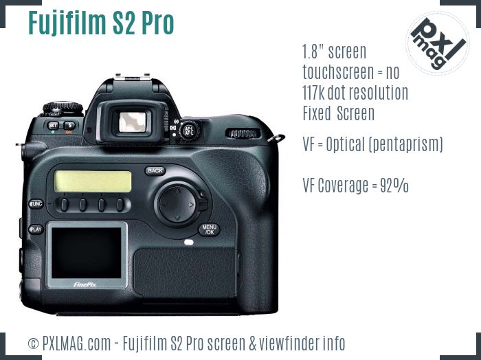 Fujifilm FinePix S2 Pro screen and viewfinder
