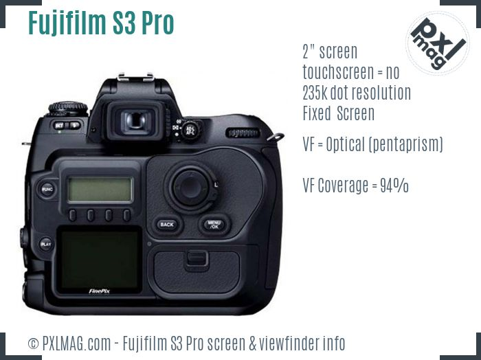 Fujifilm FinePix S3 Pro screen and viewfinder
