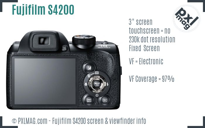 Fujifilm FinePix S4200 screen and viewfinder