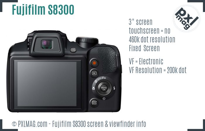 Fujifilm FinePix S8300 screen and viewfinder