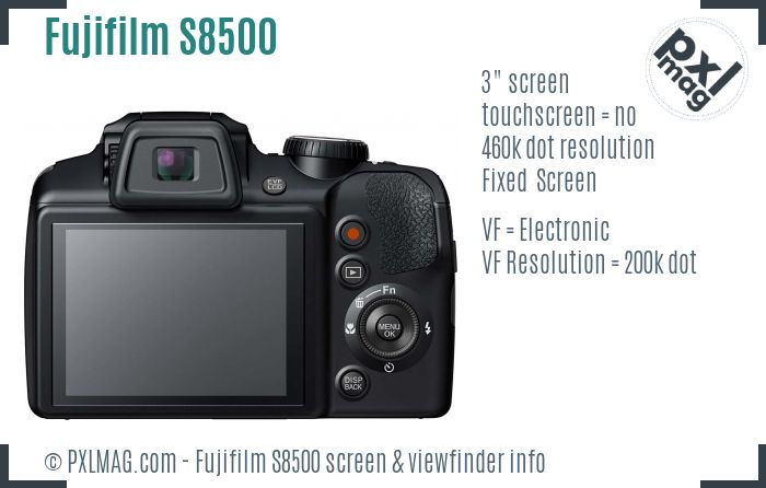 Fujifilm FinePix S8500 screen and viewfinder