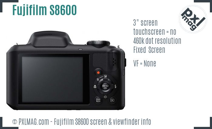 Fujifilm FinePix S8600 screen and viewfinder