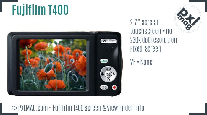 Fujifilm FinePix T400 screen and viewfinder