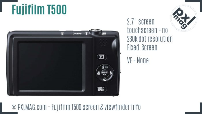 Fujifilm FinePix T500 screen and viewfinder